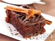 Какаов сладкиш / кекс със заквасена сметана, какао, канела и глазура от течен шоколад